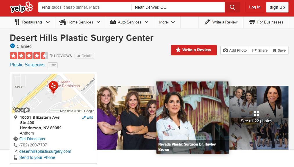 Yelp profile banner for Desert Hills Plastic Surgery Center