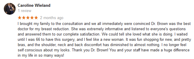breast reduction surgery review for Dr Hayley Brown