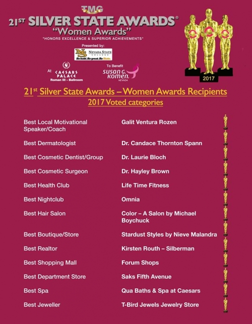 Best Cosmetic Surgeon award - Las Vegas plastic surgeon Dr. Hayley Brown
