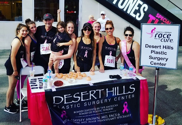 Plastic surgeon Dr. Hayley Brown and her staff at the Race for The Cure in Las Vegas